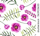 seamless pattern of watercolor... | Shutterstock . vector #563923633