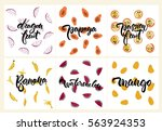 set of fruit illustrations ... | Shutterstock .eps vector #563924353