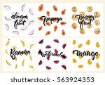 set of fruit illustrations ... | Shutterstock .eps vector #563924353