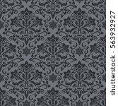 dark grey and black damask... | Shutterstock .eps vector #563932927