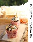 cup cake  sweet desert with... | Shutterstock . vector #563937073