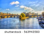 view from the pont des arts on... | Shutterstock . vector #563943583