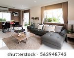 beautiful room interior with... | Shutterstock . vector #563948743