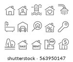 real estate flat thin line... | Shutterstock .eps vector #563950147