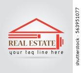 real estate logo orange elegant ... | Shutterstock .eps vector #563951077