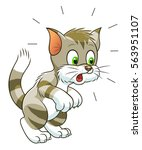 surprised cartoon tabby cat on... | Shutterstock .eps vector #563951107