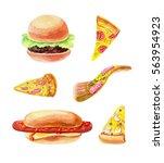 pizza  hamburger and hotdog