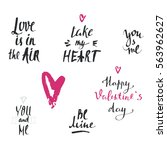 set of hand drawn valentines... | Shutterstock .eps vector #563962627