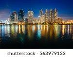 asoke modern buildings of... | Shutterstock . vector #563979133
