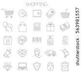 thin line vector online store... | Shutterstock .eps vector #563981557