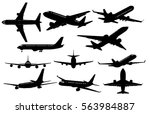 Set Of Airplanes Silhouettes....