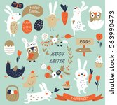 vector easter set with cute...   Shutterstock .eps vector #563990473