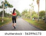 Runner Asian Woman Walking In...