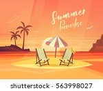 deck chair and umbrella  chaise ... | Shutterstock .eps vector #563998027