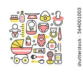 collage with baby products for... | Shutterstock .eps vector #564001003