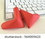 "Small photo of Overlapping paper red hearts on Keyboarded computer desk background. You can use as greeting card with text or with out text ""Happy Valentine's Day"" I love my job."