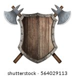 wooden shield and two crossed...   Shutterstock . vector #564029113