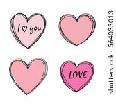 hand drawn heart frame. cute... | Shutterstock .eps vector #564033013