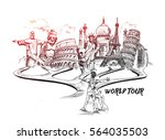 Travel and Tourism Background with Famous World Landmarks, Hand Drawn Sketch Vector illustration.  | Shutterstock vector #564035503