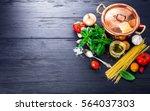 italian food preparation pasta... | Shutterstock . vector #564037303