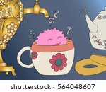 cartoon monster tea cup samovar ... | Shutterstock .eps vector #564048607