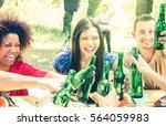 multiracial friends having fun... | Shutterstock . vector #564059983