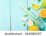 ingredients for citrus juice or ... | Shutterstock . vector #564080107