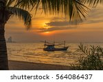 a tropical beach and sunset at... | Shutterstock . vector #564086437