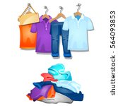 the pile of clothes and hung on ... | Shutterstock .eps vector #564093853