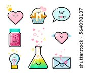 collection of romantic icons. | Shutterstock .eps vector #564098137
