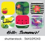 drink coasters with hello... | Shutterstock .eps vector #564109243