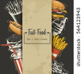 hand drawn fast food menu.... | Shutterstock .eps vector #564123943