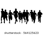 people athletes on running race ... | Shutterstock .eps vector #564125623
