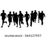 people athletes on running race ... | Shutterstock . vector #564127957