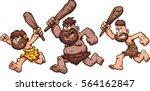 angry running cavemen. vector... | Shutterstock .eps vector #564162847