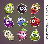 funny plant characters stickers ... | Shutterstock .eps vector #564164977