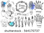 hand drawn ink easter spring... | Shutterstock .eps vector #564170737