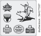 set of vintage rodeo labels ... | Shutterstock .eps vector #564177337