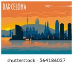 Barcelona  Ityscape At Sunset....