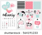Stock vector calendar for february with cute gray kitten in pink box elements tags stickers patterns 564191233