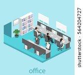 3d isometric office interior ... | Shutterstock .eps vector #564204727