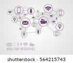 infographics map with symbols... | Shutterstock .eps vector #564215743