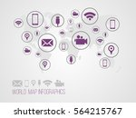 infographics map with symbols... | Shutterstock .eps vector #564215767