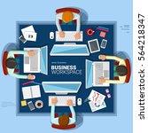 business working. work space.... | Shutterstock .eps vector #564218347