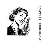 Girl With Soda - Retro Clip Art   Shutterstock vector #56422477