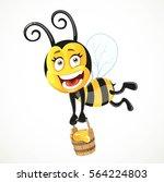 cartoon bee flies with a wooden ... | Shutterstock .eps vector #564224803