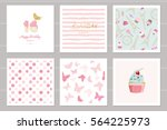 birthday cards set for teenage... | Shutterstock .eps vector #564225973