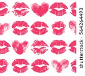 seamless pattern with lipstick... | Shutterstock . vector #564264493