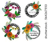 a set of hand drawn floral... | Shutterstock .eps vector #564267553