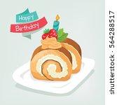 cake roll in happy birthday   Shutterstock .eps vector #564288517